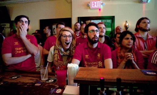 Hipster soccer in bar