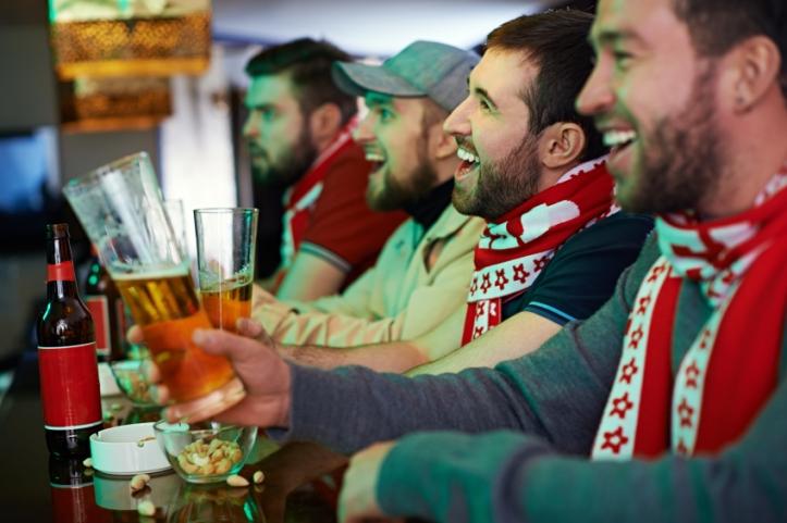 Fans in sports bar